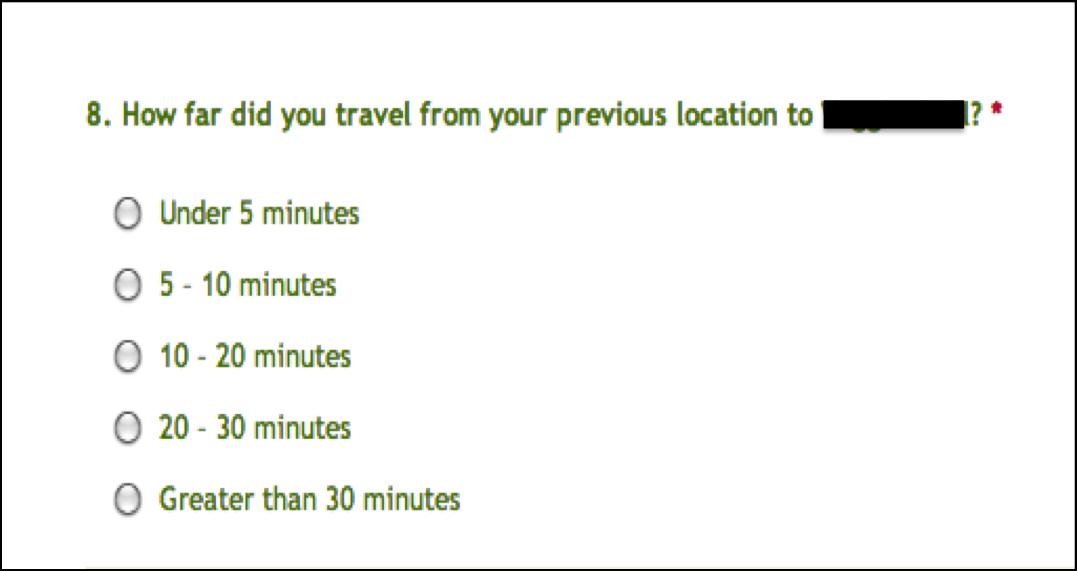 restaurant survey question